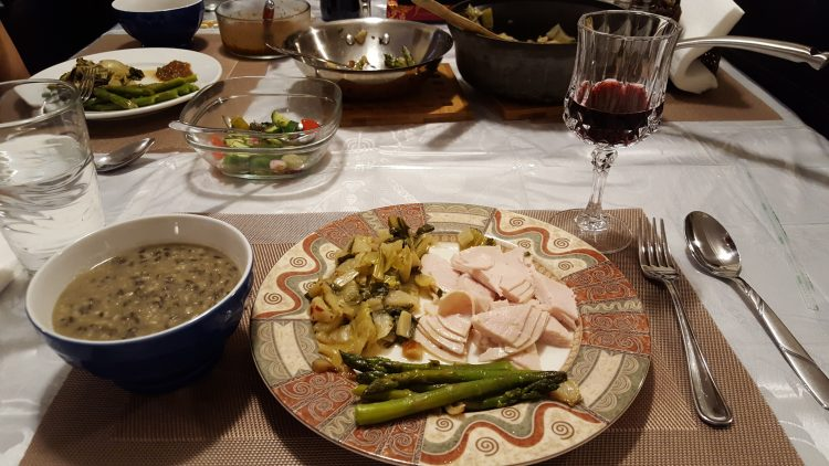 slow-carb-diet-review-Asparagus, Bok Choy, Urad Dal and Turkey Dinner