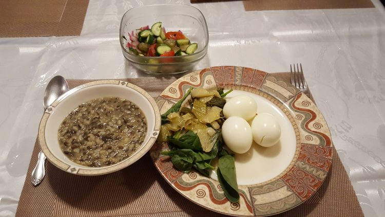 Breakfast of Urad Dal Black Lentils, and Bok Choy, and Hardboiled Eggs.