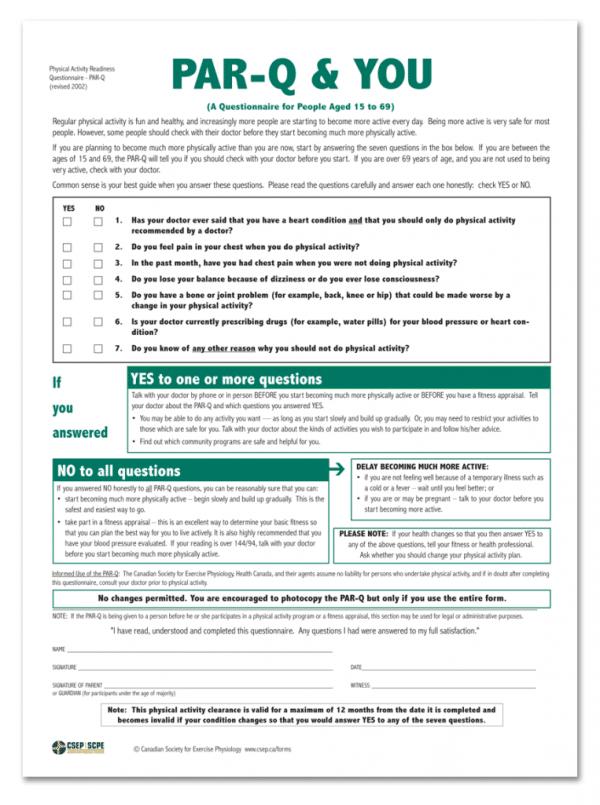 csep par q form physical activity readiness questionnaire