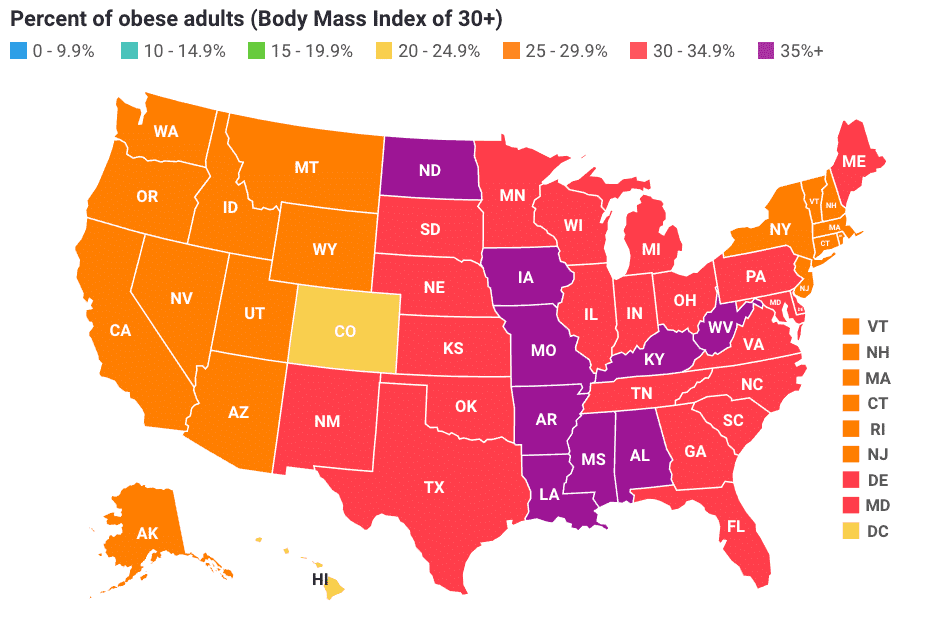 most obese state map 2018 image credit stateofobesity.org
