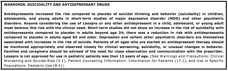SIGECAPS Depression questions - Suicidality warning label for antidepressant lexapro FDA Image Credit Time Magazine
